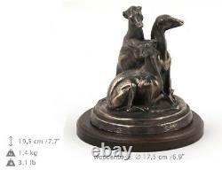 Lévrier Whippet paire, statue de chien sur une base en bois, limitée Art Dog FR