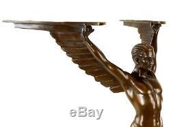Magnifique Art Déco Sculpture Icarus en Bronze Sign. Gennarelli