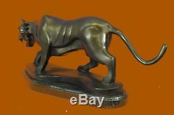 Main Grand Tigre Bronze Sculpture Figurine Base Marbre Art Figurine