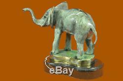 Marius Éléphant Art Déco Base en Marbre Bronze Sculpture Statue Figurine T