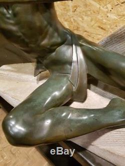 Max Le Verrier Art Déco Ancien Rare Grande Sculpture Statue Années 20 30 Bronze