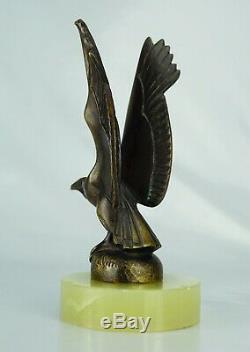 Max Le Verrier Sculpture Animalière Mascotte Vautour Bronze Signé. ART Déco
