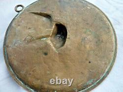 Médaille bas relief en bronze oiseau branché Art Déco signé THOMAS