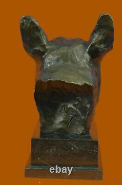 Moderne Anglais Français Bouledogue Main Art Bronze Sculpture Statue Figurine