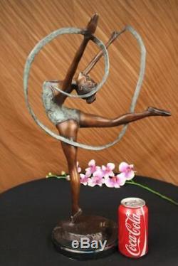 Multicolore Patine Fonte Ruban Danseuse Bronze Sculpture Art Déco Statue Affaire