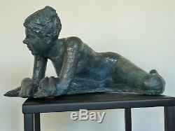 Ninon Statue Sculpture nu terre cuite Art du Nu Design couleur bronze18/37/25cm