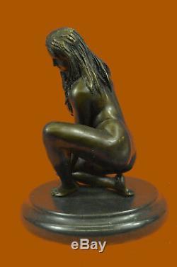 Nu Femme Figurine Bronze Art Érotique Sculpture Bureau de Collection Décor T
