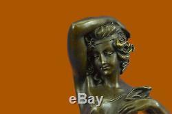 Occidentale Bronze Marbre Art Déco Sculpture Statue Sexy Femme Nue Érotique