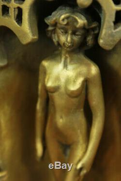 Or Patine Lurking Deux Arabe Hommes Nue Femme Bronze Sculpture Figurine Art Déco