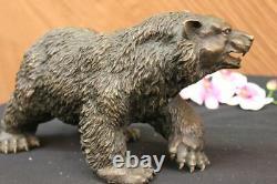 Ouest Art Noir Ours Mère Grand Bronze Décor Statue Sculpture Figurine Solde