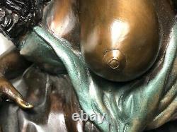 Paire Original Art Déco 1930's Français Bronze Érotique Sexy Nu Femme Sculptures