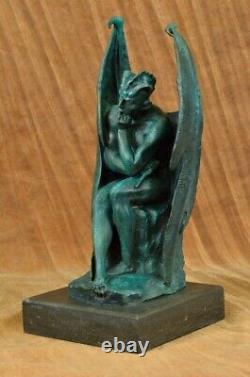 Patine Diable Satyre Foncé Ange Bronze Sculpture Par Milo Figurine Art Décor