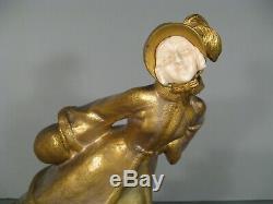 Patineuse Sculpture Chryséléphantine Style Art Nouveau Bronze Signé Vanrose