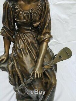 Paul Eugene MENGIN, Femme à la mandoline, Susse frères, Art nouveau