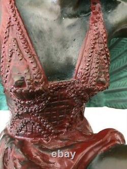 Pellier M Sculpture Bronze Art Deco Danseuse Paon