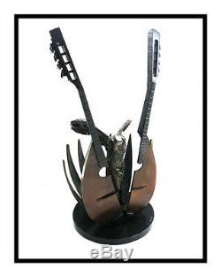 Pierre Arman Original Bronze Sculpture Rayées Mandoline Signée Large Musique Art