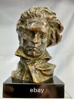 Pierre Le Faguays Max Le Verrier Sculpture Buste de Beethoven bronze Art Déco