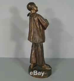 Pierrot Sculpture Ancienne Bronze Signé Lensa/statue Pierrot Commedia Dell'arte
