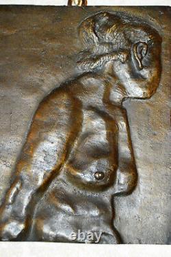 Plaque en bronze femme nue art déco