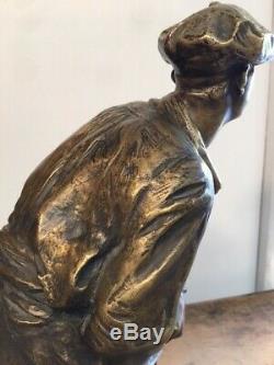 R. DELANDRE sculpture Statue bronze Chistera circa 1930 art deco antique vintage