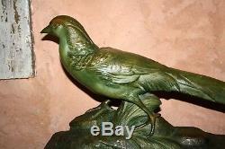 RARE SCULPTURE ART DECO 1930 Faisan SIGNEE R. POLLIN terre cuite patine bronze