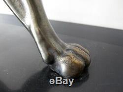 RULAS Ancienne grande sculpture panthère. Régule patine bronze. Art déco
