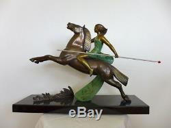 Rare Bronze ART DECO sculpture 1930 AMAZONE (attribué à) LEMOINE