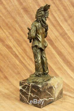 Rare Indien D'Amérique Art Chief Boeuf Tête Bronze Marbre Statue Sculpture Nr