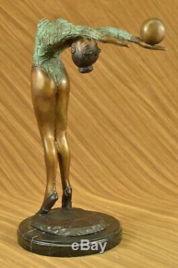 Rare Original Art Déco Sport Gymnaste Bronze Sculpture Statue Marbre Base Figure