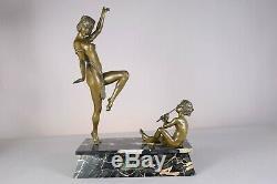 Rare et imposante sculpture bronze époque art deco 1930 danseuse egyptienne