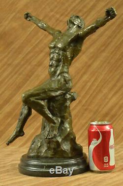 Rodin Age de Bronze Élégant Mâle Nu Rare Bronze Marbre Statue Sculpture Art