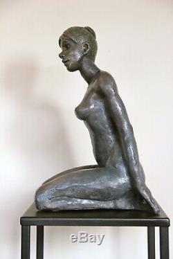 Rose Statue Nu Sculpture terre cuite Art du Nu Design couleur bronze 36/15/25cm