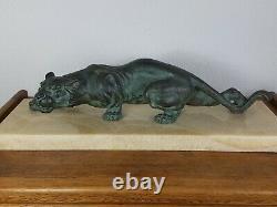 S. Melani (1902-1934) Lionne à l'affût Bronze Art-déco signé 29 kg Très bel état