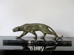 Salvatore Melani Sculpture animalière Art Deco en bronze. Panthère
