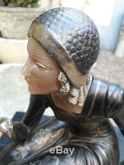 Sculpture Art Deco. Art Nouveau. Élégante Bronze Marbre