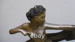 Sculpture Art Deco Diane Chasseresse Signee Santi En Platre Couleur Bronze