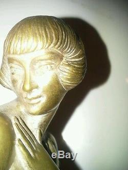 Sculpture Art Deco Old Bronze Le Fagays 1892-1935 Shy Fondeur Etling No Copy