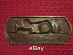 Sculpture Bas Relef Plaque Signee Bronze Art Deco 1940' Ww2 Wwii Wk2 Wkii Stalag
