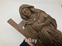 Sculpture Bois Sculpté XIX ou XVIII ème Siècle Relief Art Sacré Religieuse