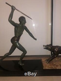 Sculpture Bronze 1920 Signee J Brault Art Deco Chasse Loup Guerrier Statue Rare