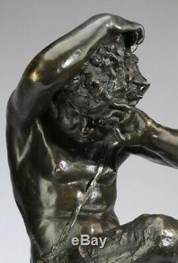 Sculpture Bronze Art Mythologie signée d'après Clodion Satyre sur socle 1795