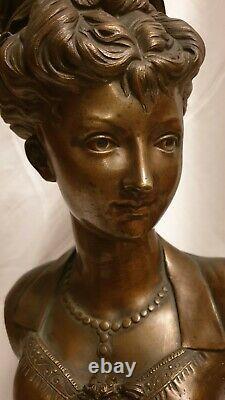 Sculpture, Bronze, buste femme, Art nouveau, socle signe Tiffany&Co