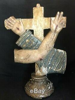 Sculpture Croix Art Sacré Mains & Bras Croisés Bois Polychrome XIX ème Siècle