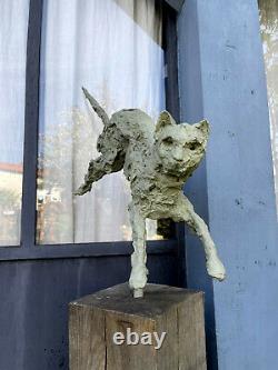 Sculpture Feline (le Chat) En Fonte De Bronze Art Brutaliste De 1 M De H