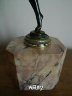 Sculpture Statuette En Bronze Danseuse Sur Marbre Vers 1930 Art Deco