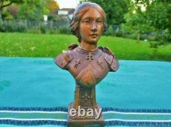 Sculpture ancienne buste sur socle Jeanne Art Nouveau Antique sculpture bust on