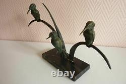 Sculpture bronze art déco groupe de martins pêcheurs. Réf 179/4
