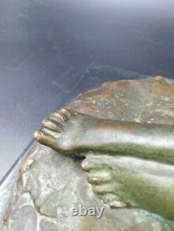 Sculpture bronze jeune femme nu art-déco Max Le Verrier Chiparus Balleste