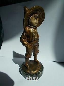 Sculpture chryselephantine en bronze BAILLY statuette enfant garçon art deco