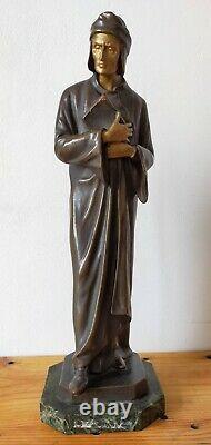 Sculpture de Dante Alighieri en stuc patine bronze 41 cm